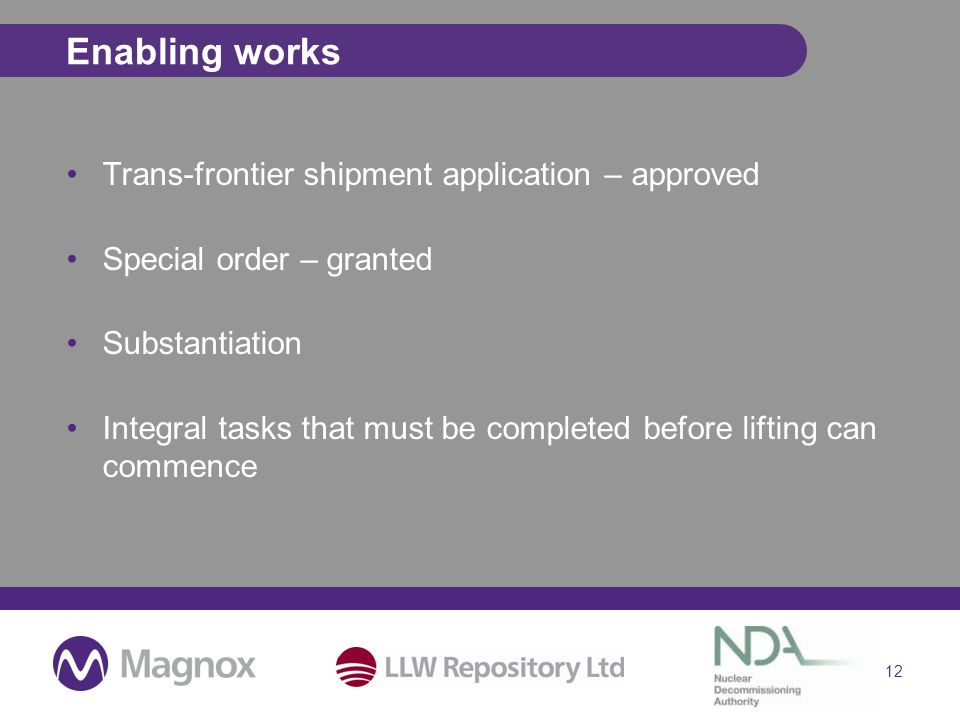 Enabling works Trans-frontier shipment application – approved Special order – granted Substantiation Integral tasks that must be completed before lifting can commence 12