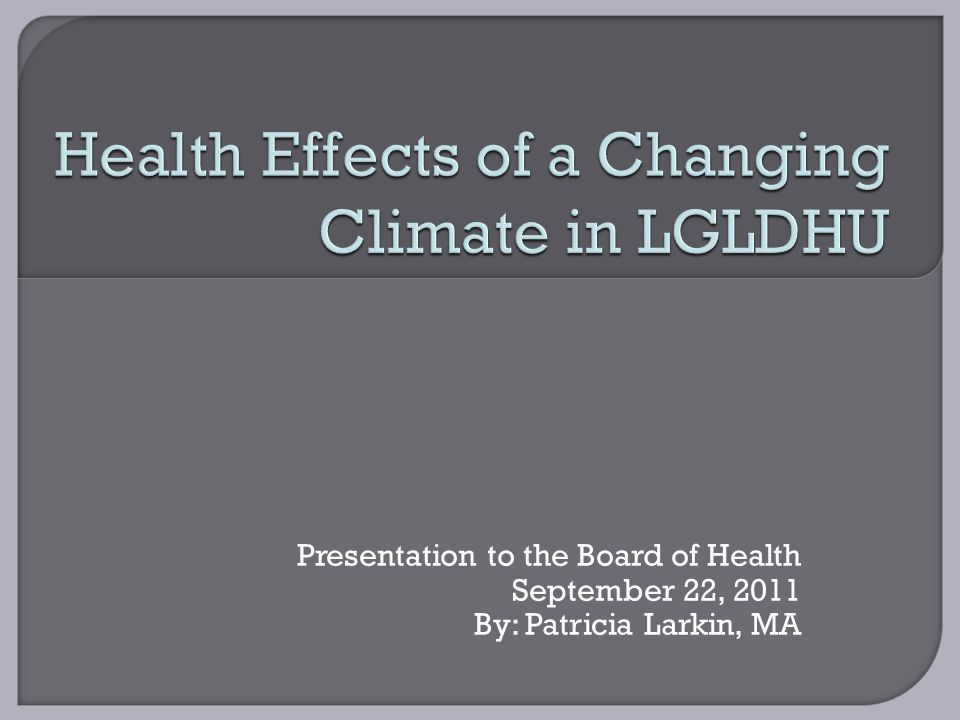 Presentation to the Board of Health September 22, 2011 By: Patricia Larkin, MA