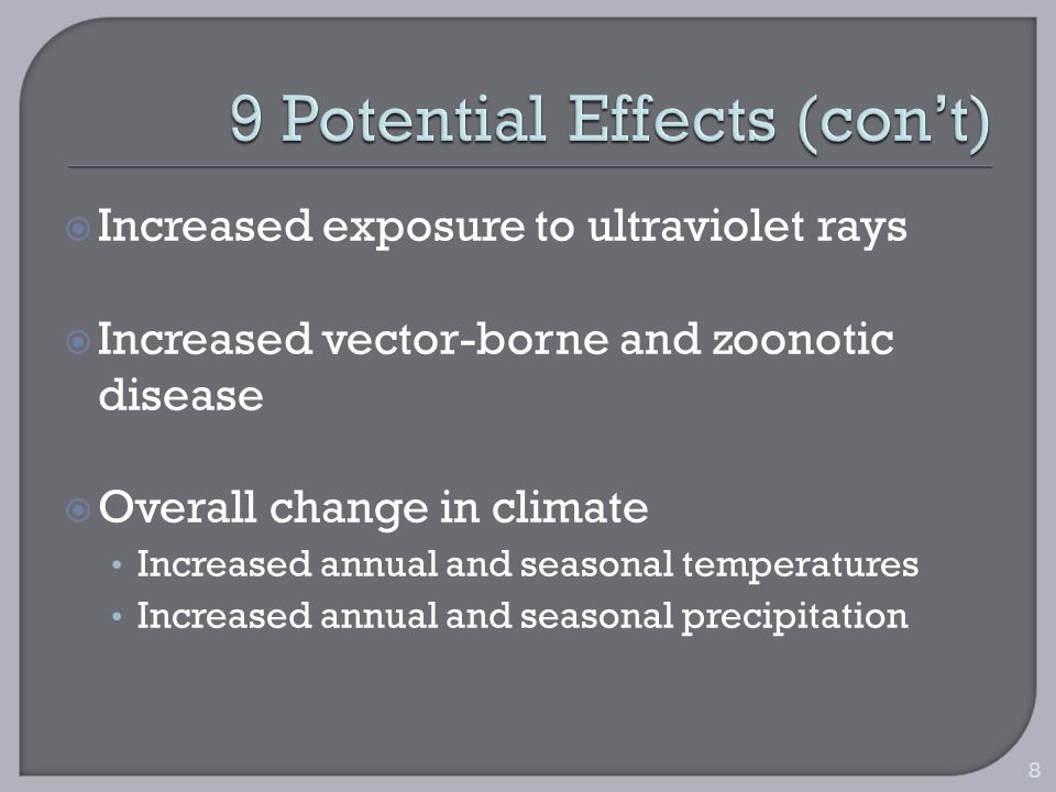 Increased exposure to ultraviolet rays Increased vector-borne and zoonotic disease Overall change in climate Increased annual and seasonal temperatures Increased annual and seasonal precipitation 8
