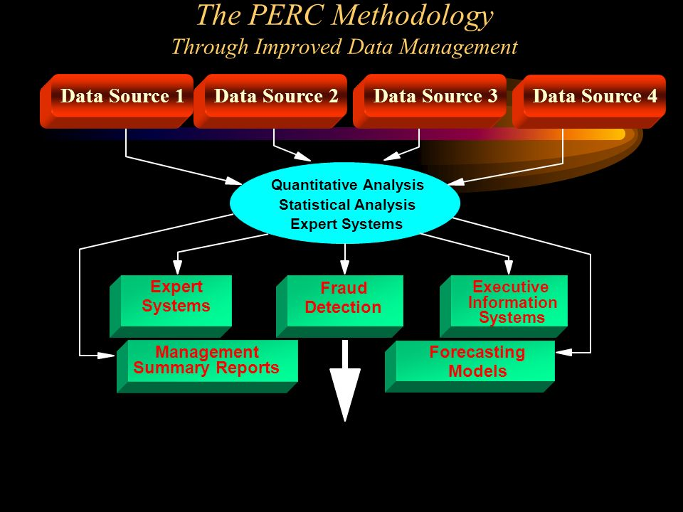 The PERC Methodology Through Improved Data Management Quantitative Analysis Statistical Analysis Expert Systems Data Source 1 Data Source 2Data Source 3Data Source 4 Fraud Detection Expert Systems Executive Information Systems Management Summary Reports Forecasting Models