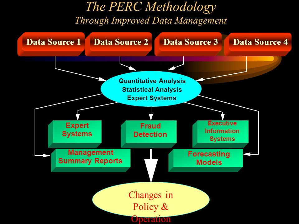 The PERC Methodology Through Improved Data Management Quantitative Analysis Statistical Analysis Expert Systems Data Source 1 Data Source 2Data Source 3Data Source 4 Fraud Detection Expert Systems Executive Information Systems Management Summary Reports Forecasting Models Changes in Policy & Operation