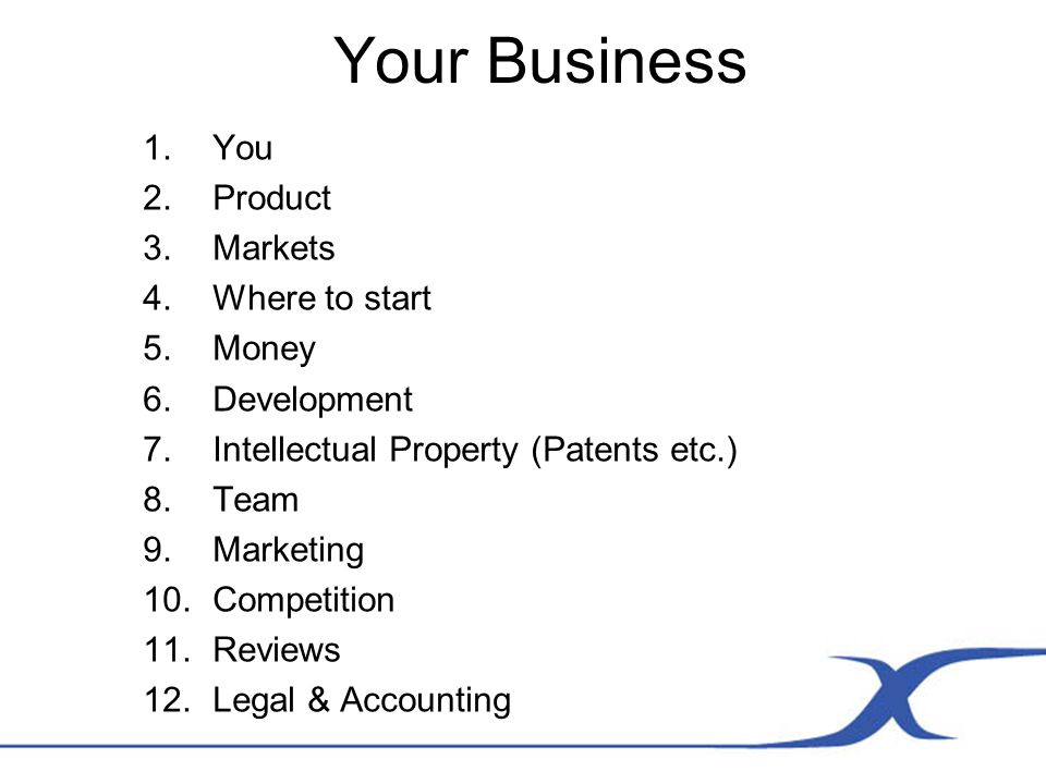 Your Business 1.You 2.Product 3.Markets 4.Where to start 5.Money 6.Development 7.Intellectual Property (Patents etc.) 8.Team 9.Marketing 10.Competition 11.Reviews 12.Legal & Accounting