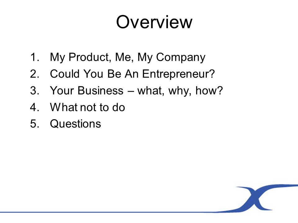 Overview 1.My Product, Me, My Company 2.Could You Be An Entrepreneur.