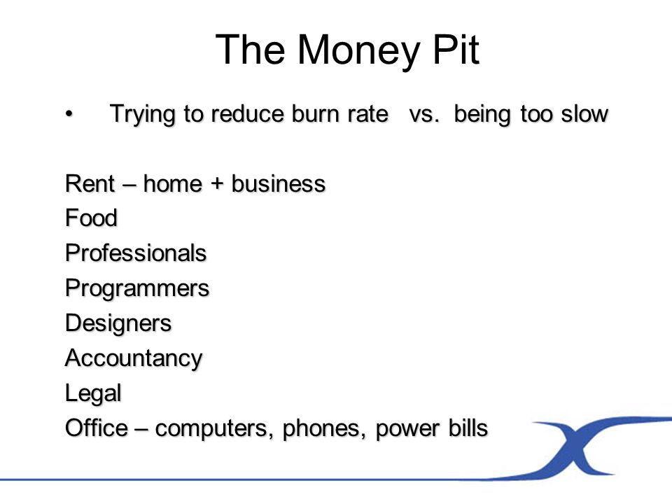 The Money Pit Trying to reduce burn rate vs. being too slowTrying to reduce burn rate vs.