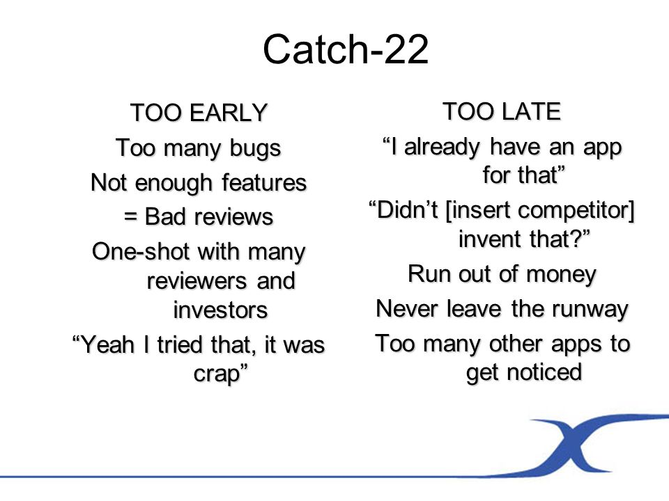 Catch-22 TOO EARLY Too many bugs Not enough features = Bad reviews One-shot with many reviewers and investors Yeah I tried that, it was crap TOO LATE I already have an app for that Didnt [insert competitor] invent that.