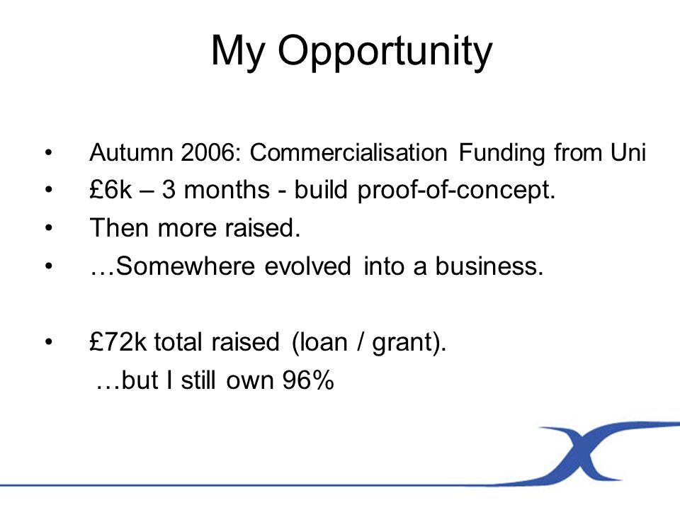 My Opportunity Autumn 2006: Commercialisation Funding from Uni £6k – 3 months - build proof-of-concept.
