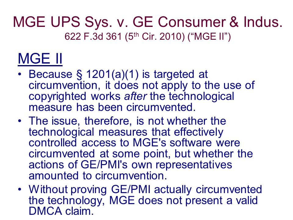 MGE UPS Sys. v. GE Consumer & Indus. 622 F.3d 361 (5 th Cir.