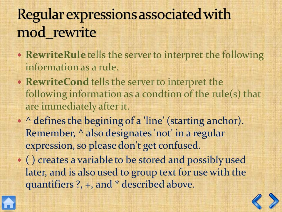 RewriteRule tells the server to interpret the following information as a rule.
