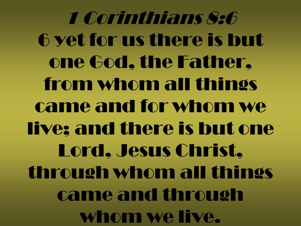 1 Corinthians 8:6 6 yet for us there is but one God, the Father, from whom all things came and for whom we live; and there is but one Lord, Jesus Christ, through whom all things came and through whom we live.
