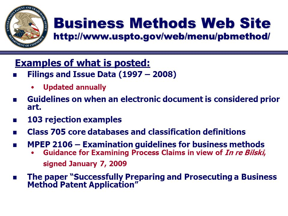 Business Methods Web Site   n n Filings and Issue Data (1997 – 2008) Updated annually n n Guidelines on when an electronic document is considered prior art.
