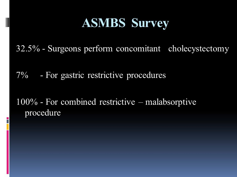 ASMBS Survey 32.5% - Surgeons perform concomitant cholecystectomy 7% - For gastric restrictive procedures 100% - For combined restrictive – malabsorptive procedure