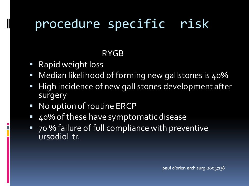 procedure specific risk RYGB Rapid weight loss Median likelihood of forming new gallstones is 40% High incidence of new gall stones development after surgery No option of routine ERCP 40% of these have symptomatic disease 70 % failure of full compliance with preventive ursodiol tr.