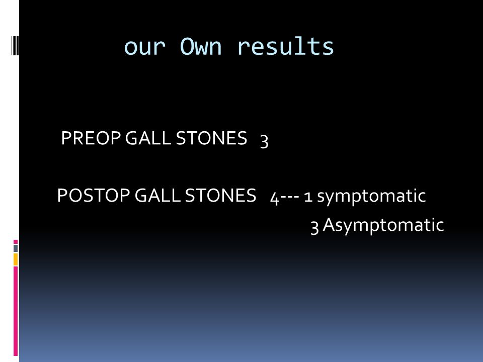 our Own results PREOP GALL STONES 3 POSTOP GALL STONES symptomatic 3 Asymptomatic