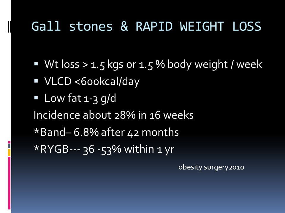 Gall stones & RAPID WEIGHT LOSS Wt loss > 1.5 kgs or 1.5 % body weight / week VLCD <600kcal/day Low fat 1-3 g/d Incidence about 28% in 16 weeks *Band– 6.8% after 42 months *RYGB % within 1 yr obesity surgery2010