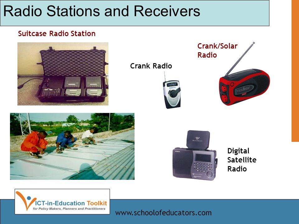 Radio Stations and Receivers Digital Satellite Radio Crank Radio Crank/Solar Radio Suitcase Radio Station