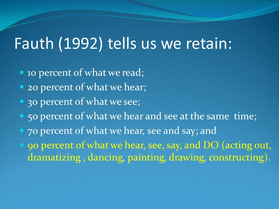 Fauth (1992) tells us we retain: 10 percent of what we read; 20 percent of what we hear; 30 percent of what we see; 50 percent of what we hear and see at the same time; 70 percent of what we hear, see and say; and 90 percent of what we hear, see, say, and DO (acting out, dramatizing, dancing, painting, drawing, constructing).