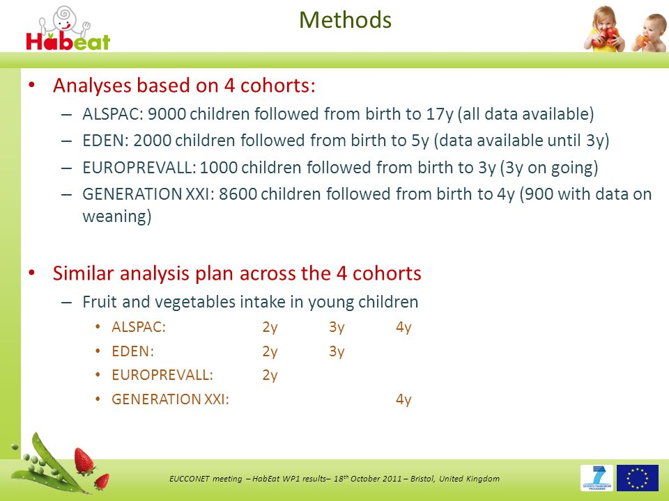 EUCCONET meeting – HabEat WP1 results– 18 th October 2011 – Bristol, United Kingdom Methods Analyses based on 4 cohorts: – ALSPAC: 9000 children followed from birth to 17y (all data available) – EDEN: 2000 children followed from birth to 5y (data available until 3y) – EUROPREVALL: 1000 children followed from birth to 3y (3y on going) – GENERATION XXI: 8600 children followed from birth to 4y (900 with data on weaning) Similar analysis plan across the 4 cohorts – Fruit and vegetables intake in young children ALSPAC: 2y3y4y EDEN: 2y3y EUROPREVALL: 2y GENERATION XXI: 4y