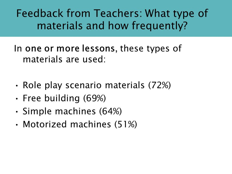 Feedback from Teachers: What type of materials and how frequently.