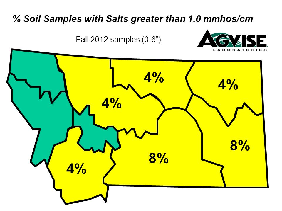 % Soil Samples with Salts greater than 1.0 mmhos/cm Fall 2012 samples (0-6) 4% 8% 4% 8% 4%