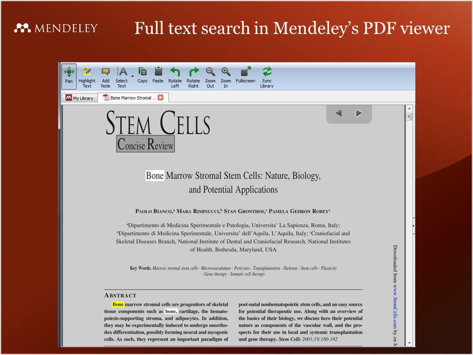 Full text search in Mendeleys PDF viewer