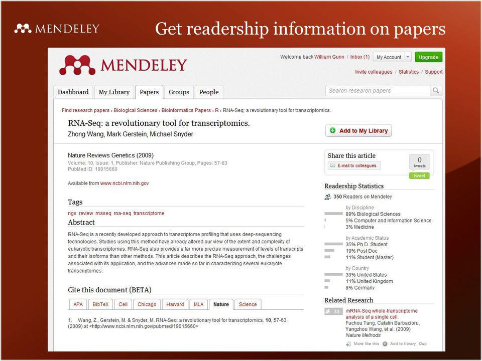 Get readership information on papers