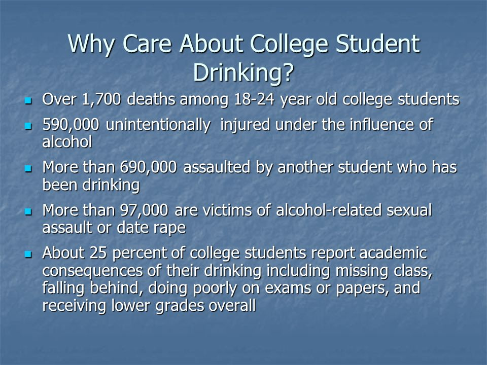 Why Care About College Student Drinking.