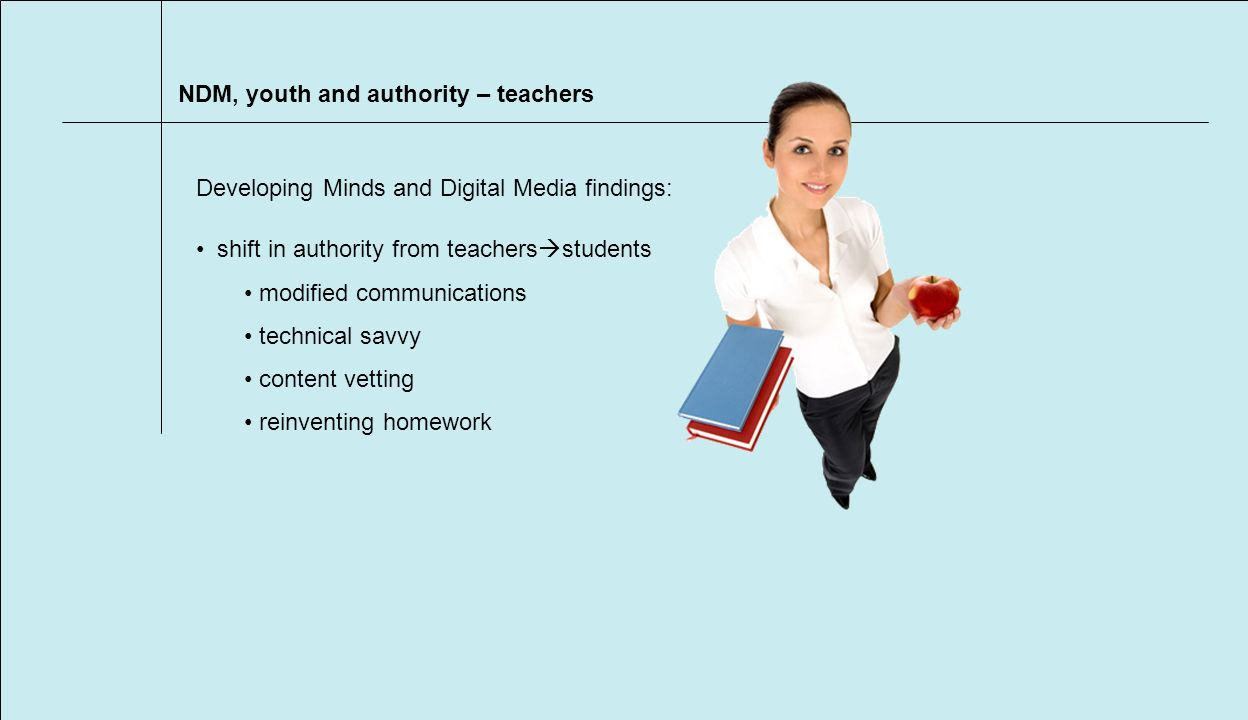 NDM, youth and authority – teachers shift in authority from teachers students modified communications technical savvy content vetting reinventing homework Developing Minds and Digital Media findings: