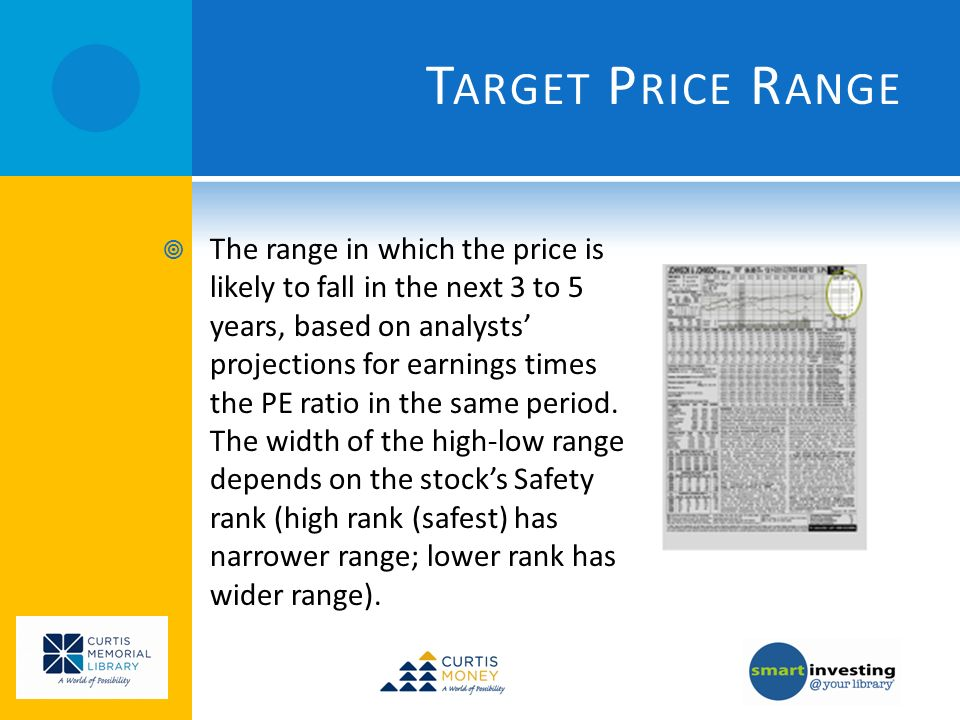 T ARGET P RICE R ANGE The range in which the price is likely to fall in the next 3 to 5 years, based on analysts projections for earnings times the PE ratio in the same period.
