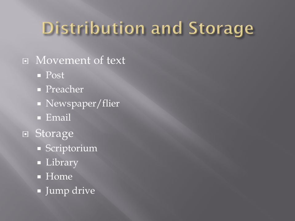 Movement of text Post Preacher Newspaper/flier Email Storage Scriptorium Library Home Jump drive