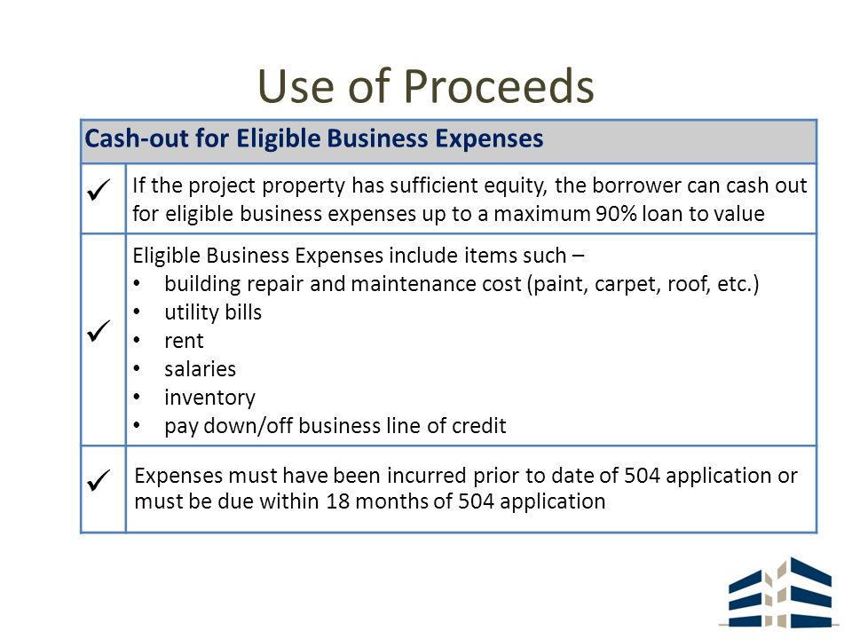 Cash-out for Eligible Business Expenses If the project property has sufficient equity, the borrower can cash out for eligible business expenses up to a maximum 90% loan to value Eligible Business Expenses include items such – building repair and maintenance cost (paint, carpet, roof, etc.) utility bills rent salaries inventory pay down/off business line of credit Expenses must have been incurred prior to date of 504 application or must be due within 18 months of 504 application Use of Proceeds