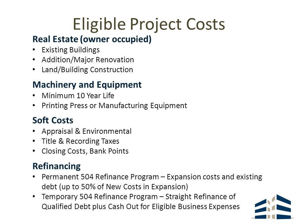 Eligible Project Costs Real Estate (owner occupied) Existing Buildings Addition/Major Renovation Land/Building Construction Machinery and Equipment Minimum 10 Year Life Printing Press or Manufacturing Equipment Soft Costs Appraisal & Environmental Title & Recording Taxes Closing Costs, Bank Points Refinancing Permanent 504 Refinance Program – Expansion costs and existing debt (up to 50% of New Costs in Expansion) Temporary 504 Refinance Program – Straight Refinance of Qualified Debt plus Cash Out for Eligible Business Expenses