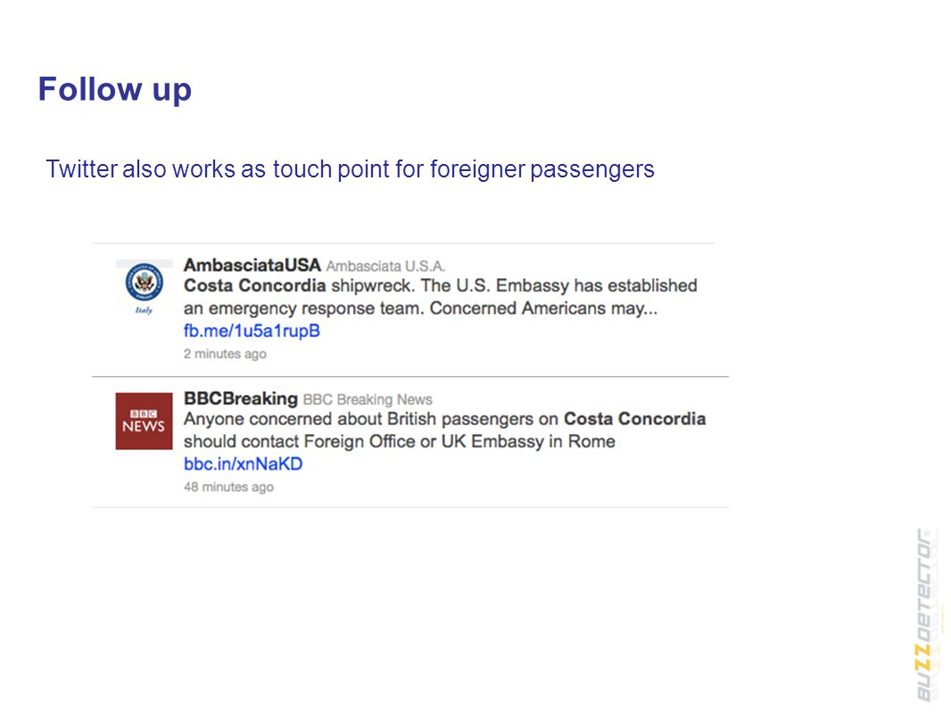 Follow up Twitter also works as touch point for foreigner passengers