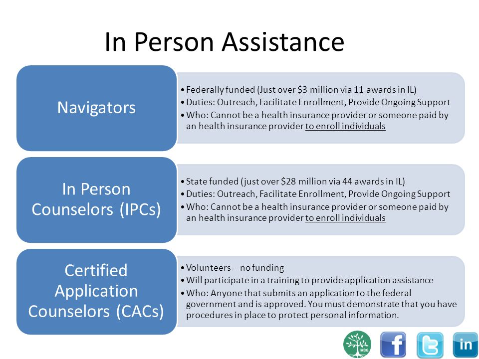 In Person Assistance Federally funded (Just over $3 million via 11 awards in IL) Duties: Outreach, Facilitate Enrollment, Provide Ongoing Support Who: Cannot be a health insurance provider or someone paid by an health insurance provider to enroll individuals Navigators State funded (just over $28 million via 44 awards in IL) Duties: Outreach, Facilitate Enrollment, Provide Ongoing Support Who: Cannot be a health insurance provider or someone paid by an health insurance provider to enroll individuals In Person Counselors (IPCs) Volunteersno funding Will participate in a training to provide application assistance Who: Anyone that submits an application to the federal government and is approved.