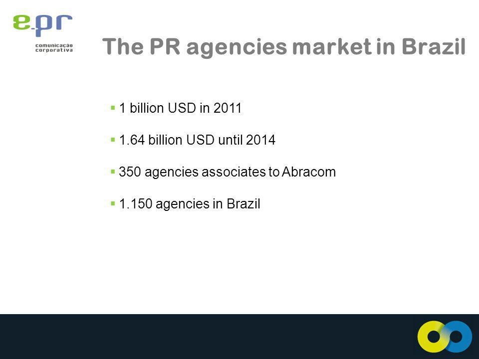 The PR agencies market in Brazil 1 billion USD in billion USD until agencies associates to Abracom agencies in Brazil