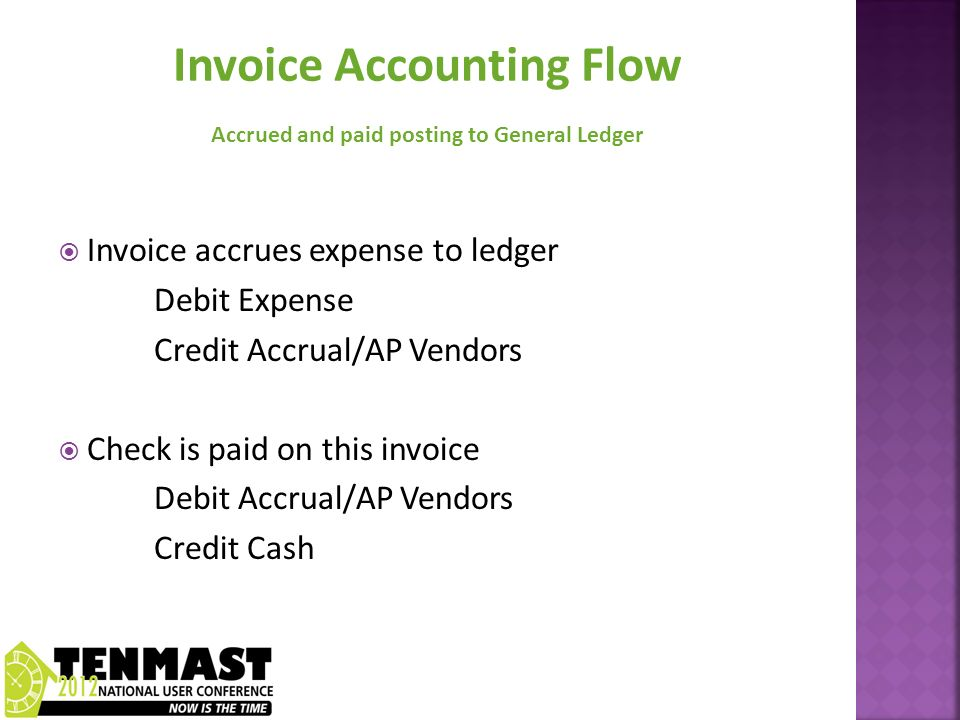 Invoice accrues expense to ledger Debit Expense Credit Accrual/AP Vendors Check is paid on this invoice Debit Accrual/AP Vendors Credit Cash
