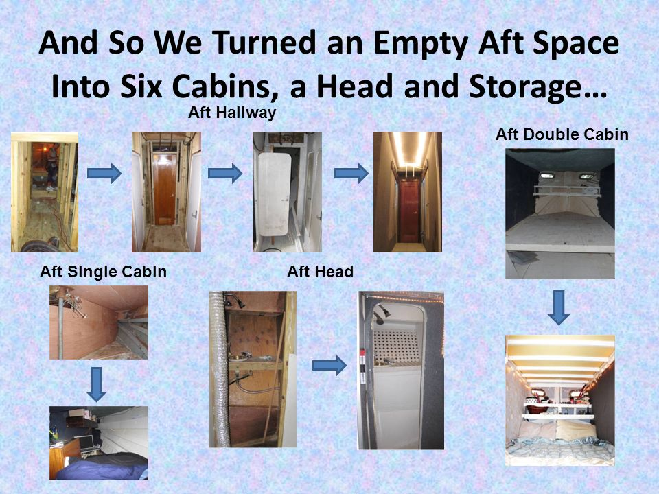 And So We Turned an Empty Aft Space Into Six Cabins, a Head and Storage… Aft Head Aft Double Cabin Aft Single Cabin Aft Hallway