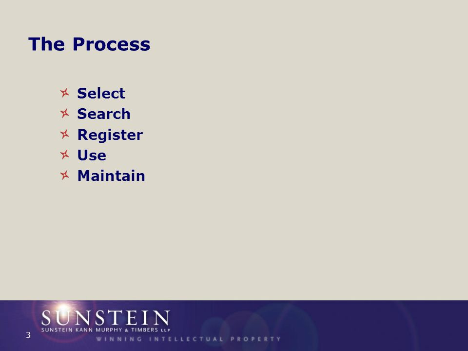 The Process Select Search Register Use Maintain 3