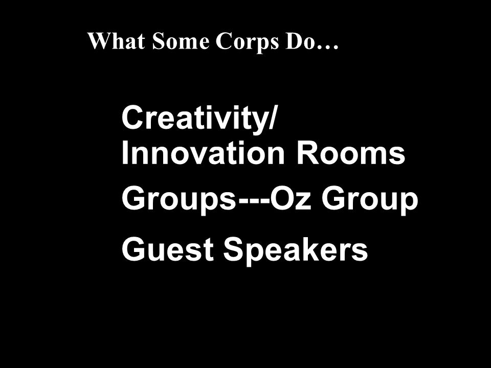 Creativity/ Innovation Rooms Groups---Oz Group Guest Speakers