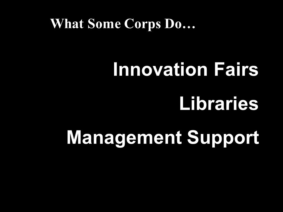 What Some Corps Do… Innovation Fairs Libraries Management Support