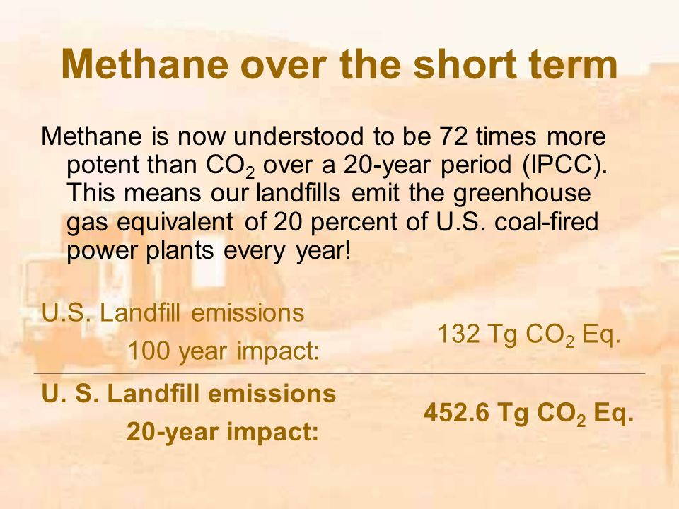 Methane over the short term Methane is now understood to be 72 times more potent than CO 2 over a 20-year period (IPCC).