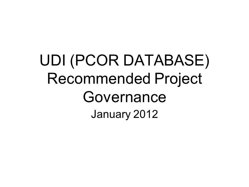 UDI (PCOR DATABASE) Recommended Project Governance January 2012