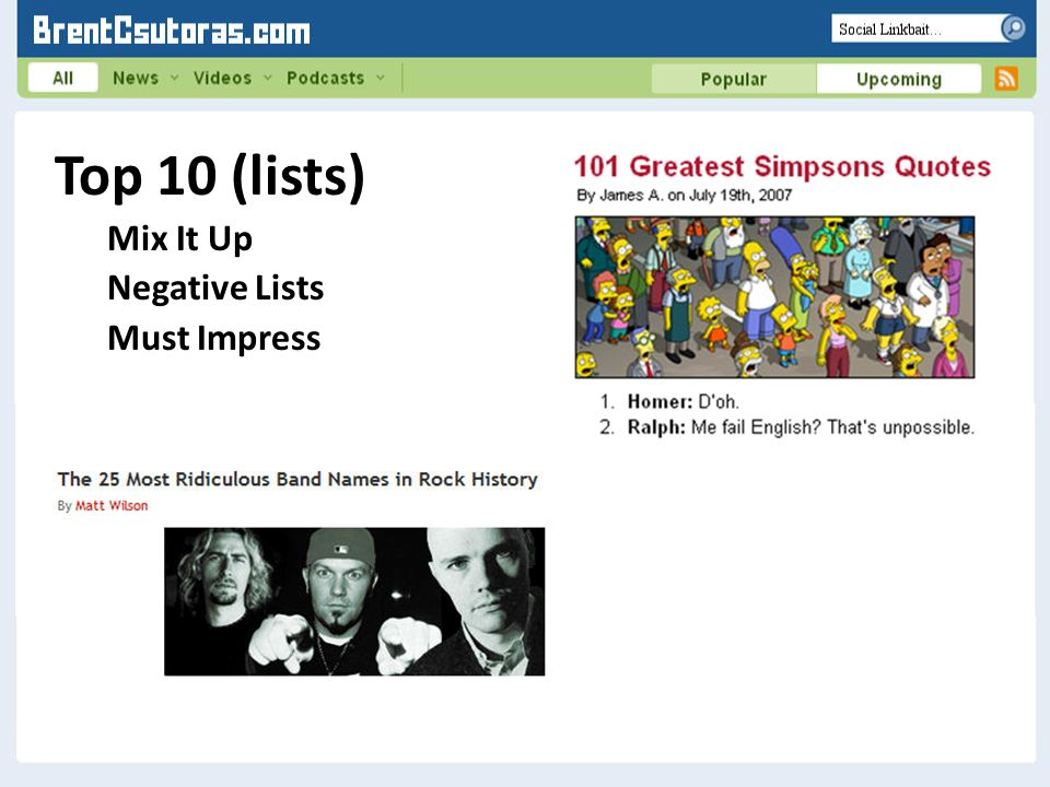 Top 10 (lists) Mix It Up Negative Lists Must Impress