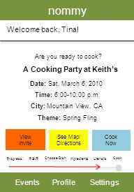 nommy EventsProfileSettings Welcome back, Tina. Are you ready to cook.