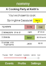 nommy EventsProfileSettings A Cooking Party at Keiths Youve chosen to cook: Progress : RSVP Choose Dish Utensils Cook Springtime Cassoulet Ingredients 3 Shallots Select 2 tablespoons olive oil Keith Recip e Owner Cost $7.00/btl $2.00/bunch 8 ounces wild mushrooms $2.00 Jacob Ingredients