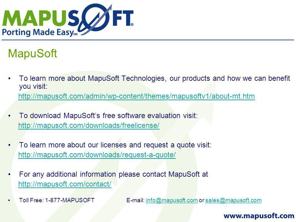 MapuSoft To learn more about MapuSoft Technologies, our products and how we can benefit you visit:   To download MapuSofts free software evaluation visit:   To learn more about our licenses and request a quote visit:   For any additional information please contact MapuSoft at   Toll Free: MAPUSOFT  or