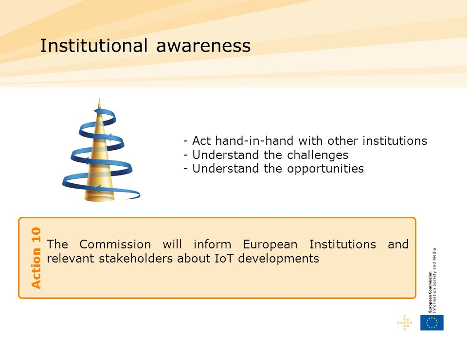 The Commission will inform European Institutions and relevant stakeholders about IoT developments Institutional awareness Action 10 -Act hand-in-hand with other institutions -Understand the challenges - Understand the opportunities