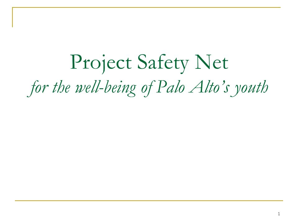 1 Project Safety Net for the well-being of Palo Altos youth