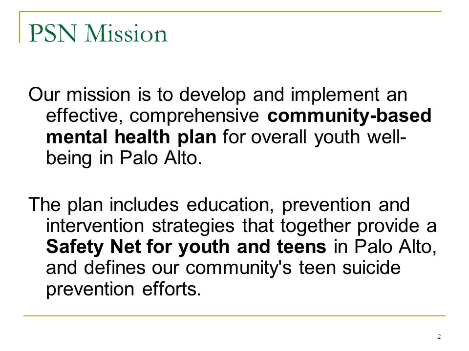 2 PSN Mission Our mission is to develop and implement an effective, comprehensive community-based mental health plan for overall youth well- being in Palo Alto.