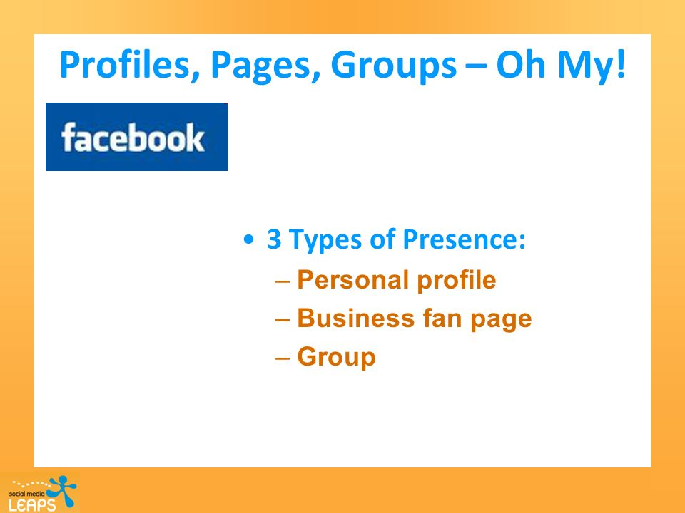 Profiles, Pages, Groups – Oh My! 3 Types of Presence: –Personal profile –Business fan page –Group