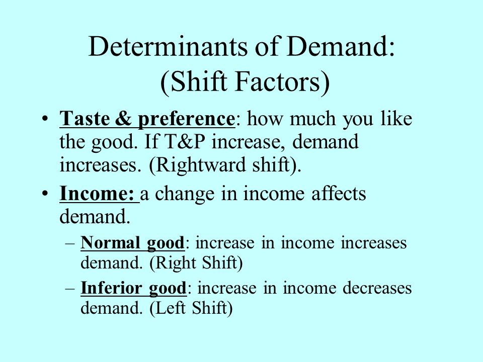 Determinants of Demand: (Shift Factors) Taste & preference: how much you like the good.